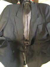 Christian Dior Blazer Jacket 44L Peak Lapel Double Breasted Navy Stripe Monsieur