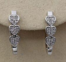 18K White Gold Filled - Sweet Heart Topaz Party Hoop Gemstone Hollow Earrings