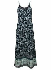 Ex BHS Blue Long Floral Print Strappy Floaty Summer Sundress Maxi Dress 6-16