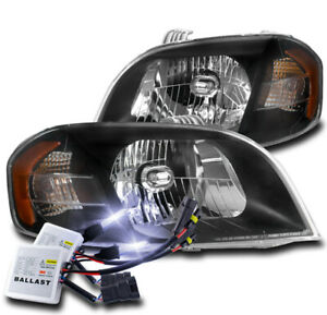 FOR 07-11 CHEVY AVEO/07-09 PONTIAC WAVE REPLACEMENT HEADLIGHT BLACK W/10000K HID