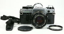 Beautiful Canon AE-1 Program 35mm Camera with 50mm f/1.8 FD Lens Filter & Strap
