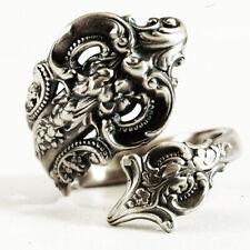 Women Vintage 925 Silver Flower Spoon Ring Victorian Handmade Jewelry Size 5-10