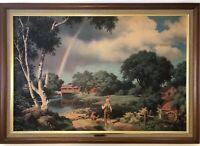 "Vintage Framed 40"" x 28"" PAUL DETLEFSEN Litho Print DAYS TO REMEMBER Rainbow Boy"