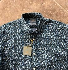 Thomas Dean Casual Shirt Long Sleeve Mens L Blue/Olive Botanical Print NWT $125