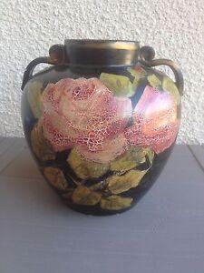 Ancien vase boule art deco terre cuite peinte signe Georges baud golfe Juan