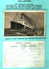 CUNARD RMS AQUITANIA RARE 1919 US TROOP TRANSPORT TO NEW YORK