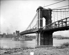 New 8x10 Photo: John Roebling Suspension Bridge in Cincinnati, Ohio - 1907