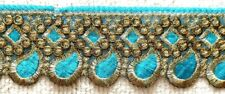 TURQUOISE & GOLD EMBROIDERED ORGANZA TRIM - SOLD PER METRE - 6.2CM'S WIDE