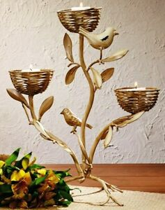 New French Country Shabby Cottage Chic BIRD BRANCH NEST CANDLE HOLDER Tree Stand