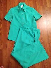 "MOD 60s 70s VtG 2pc DiScO Green PALAZZO 30"" BELL BOTTOM PANTS Suit Wide Leg"