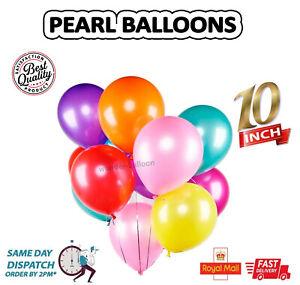 """20-100 10"""" PEARL Metallic BALLOONS BALLON helium BALOON Birthday Party UK"""
