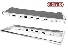 New Unitek Y-3708 USB 3.0 Type-C Docking Station HUB, HDMI, LAN, Card Reader