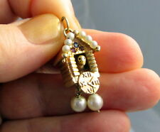 Estate Vintage Large Coo Coo Clock 14k Yellow Gold Pearl Sapphire Ruby 7.1 Charm