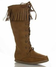 Soda Vinery Vegan Suede Moccasin Round Toe Knee High Fringe Boot - TAN