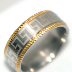 Mens / Womens Jewelry Band Ring 2-Tone Silver Rings Stainless Steel Ring Size 10