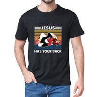 JIU JITSU Jesus Has Your Back Funny Christian Satan Gift Vintage Men's T-Shirt