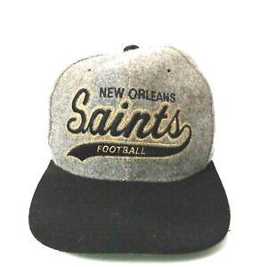 VINTAGE 90's New Orleans Saints Football NFL STARTER WOOL SNAPBACK HAT Grey