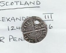 More details for holed scotland alexander iii hammered silver penny in good fine condition
