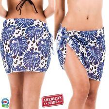 Coqueta Swimwear Chiffon Cover up Beach Sarong tropical animal print leaf HAWAI
