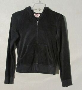 W6164 Juicy Couture Juniors M Black Terry Cloth w/Pink Embellished Heart Hoodie