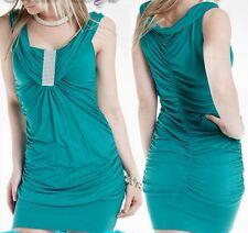 SeXy Miss Damen Glamour Strass Look Mini Kleid gerafft 34/36/38 Freesize smaragd