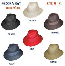 New Men's 100% Wool Fedora Trilby Mobster Hat in 6 Colors sty- LH5