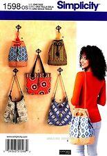 Simplicity Sewing Pattern 1598 Women's Purse Bags Totes shoulder Handbags