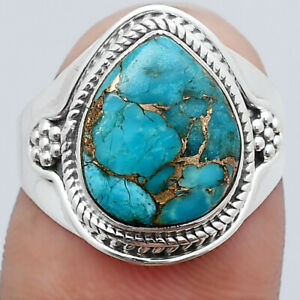 Copper Blue Turquoise - Arizona 925 Sterling Silver Ring s.7 Jewelry E258