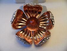 Joan Rivers Rose Gold Rhinestone Crystal  Flower  Brooch Pin