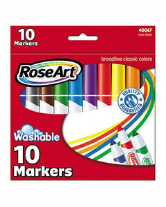 RoseArt Washable Classic Broadline Markers, 10-Count, Packaging May Vary (DBN69)