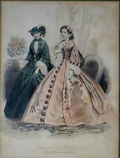 Stahlstiche, 2Stck.koloriert,Damenmode,ca 1870. Journal des Demoiselles, gerahmt