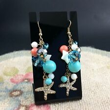 Starfish Blue Sparkle Coral Pink Dangle Earrings Rhinestone Sea Theme Summer