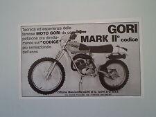 advertising Pubblicità 1977 MOTO GORI II CODICE
