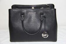 NWT- Michael Kors Savannah Leather Large Satchel Shoulder Bag Black Silver