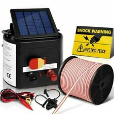 Solar Power 5Km Electric Fence Farm Animal Pet Energiser Energizer Charger 0.15J