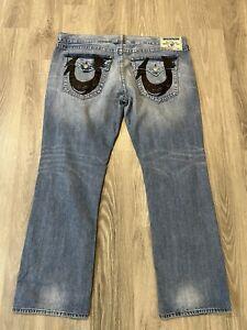 True Religion Straight With Flaps Denim Medium Wash Mens Jeans Size 44x34