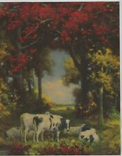 1930's-40's era Vintage Print of Dairy Cows In Woods Bright Autumn Colors C