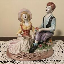 Vintage 1920s Italian Porcelain Boy & Girl Capodimonte Figures Figurines Italy