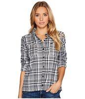 HURLEY Women's Plaid Button-Up Cotton Long-Sleeve Shirt Top M L XL - Black White