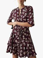 New Reiss Olra Paw Print Mini Dress Sz UK 6 12 14