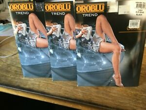 OROBLU TREND CARINE FISHNET BLACK STOCKINGS NEW MADE IN ITALY 3 PAIRS