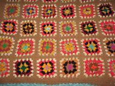 Vtg Handmade Crochet Granny Square Afghan Afgan Blanket Throw Lap Chair 63x42