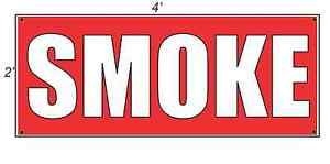 2x4 SMOKE Red with White Copy Banner Sign NEW