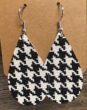 Black & White Houndstooth Handmade Lightweight Faux Leather Teardrop Earrings