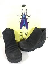 Fly London Yip Women's Size 6.5-7(EU37) Grey Oiled Suede Zip Up Booties X1-170