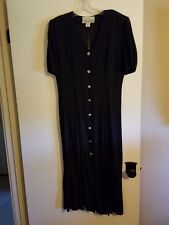 Sexy JS Collections Black w/Bling Buttons Calf Dress w/Slits All Around Sz 10