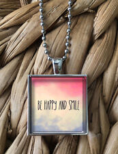 Be Happy and Smile Positive Vibes Girls Glass Pendant Silver Chain Necklace NEW