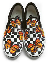 Checkerboard Monarch Butterfly Slip-on Vans Brand Shoes
