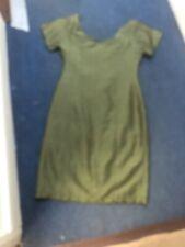 Original Vintage 1960s Green Silk Shift Dress 14-16 Check Measurements