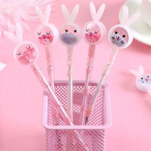 2pcs Random Kawaii Rabbit Ear Sequin Black Ink Gel Pen Ballpoint Pens Stationery